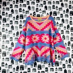 Wildfox |White Label Multicolored Crewneck Sweater